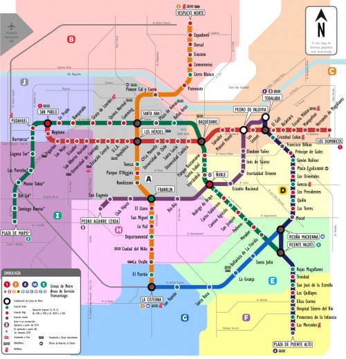 Mapa estaciones del metro en santiago de chile for Calles de santiago de chile